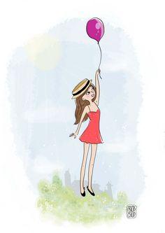 """""""Es tiempo de dejarse llevar"""" Globo/Balloon *Muchochupchup*  #globos #balloons #ilustracion #illustration"""