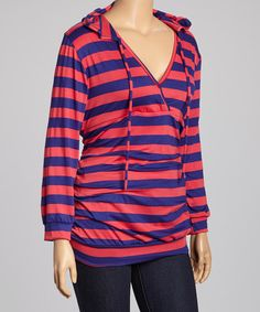 Look at this #zulilyfind! Fuchsia & Blue Stripe Hooded Surplice Top - Plus #zulilyfinds...really cute~