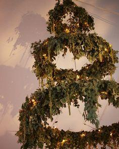 A chandelier of greenery. This would be perfect for a winter wedding! Wedding Wreaths, Wedding Bells, Wedding Decorations, Bedford New York, Floral Wedding, Wedding Flowers, Wedding Notes, Wedding Reception, Martha Stewart Weddings