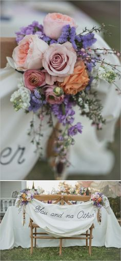 Pretty flower draped 'You and No Other' sweetheart sign. Captured By: Christine Sara Photography  http://www.weddingchicks.com/2014/06/16/these-vintage-dresses-will-captivate-your-romantic-side/