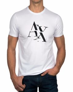 Camisetas ARMANI EXCHANGE ® E6Z - Blanco | ENVIO GRATIS Camiseta Armani Exchange, Gucci Shirts Men, T Shart, T Shirt World, Polo T Shirts, Apparel Design, Swagg, Emporio Armani, Printed Shirts