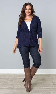 Kiyonna Plus #Size5X Sweater Blue Metallic Thread Perfect Pullover Bellini Style #Kiyonna #Pullover
