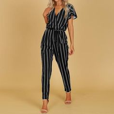 1589436745d ZANZEA 2019 Striped Jumpsuit Women Hight Waist Casual Trousers Ladies Sexy V  Neck Belted Bodysuit Workwear Overall Plus Size 5XL