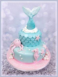 Meerjungfrau Tiers Kuchen – Mermaid birthday – - Lo Que Necesitas Saber Para La Fiesta 5th Birthday Cake, Mermaid Birthday Cakes, Fondant Birthday Cakes, Mermaid Birthday Parties, Diy Birthday, Sirenita Cake, Ariel Cake, Little Mermaid Cakes, Mermaid Cake Pops