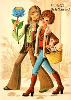 RESERVED FOR SILLYSHOPPING. Vintage post card 70s. Mod boy and girl have just bought a beautiful flower.