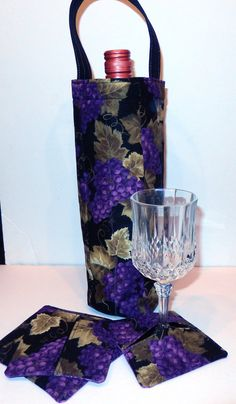Wine Tote/Gift Bag with Matching Reversible by PatchworkByPaula, $22.00