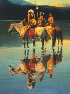 Peace on Blue Lake by David Mann ~ Utah artist David Mann never tires of painting Native Americans, and his paintings, like this one, are exciting and vibrant! Here three warriors pause at the edge of the lake and enjoy the moment of peace.
