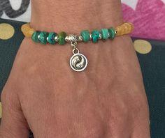 Natural Turquoise charm bracelet Natural stone bracelet by AnuanA