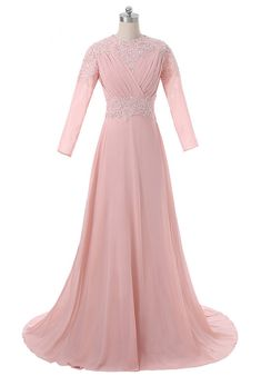 Peach Muslim Evening Dresses A-line Long Sleeves Chiffon Lace Beaded Islamic  Dubai Abaya Long Evening Gown Saudi Arabia. Long Evening GownsHijab ... c3ca63705445