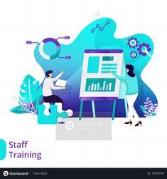 Landing Page Staff Training Illustration Photo Illustration, Illustrations, Finance Bank, Staff Training, Vector Format, Mobile App, Free Design, Landing, Seo