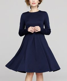 Loving this Navy Fit & Flare Dress on #zulily! #zulilyfinds