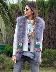 SWANK Exclusive Fur Vest with Embellished Jewel Waist in Gray *PRE-ORDER: THIS ITEM IS EXPECTED TO SHIP BY 11/15/2016.* We are DYING over this new line of furs from Spain! These amazing furs are exclu
