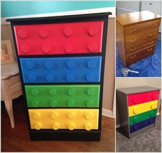 New Post has been published on www. Cool Dresser Makeover Ideas for Kids' Room If your kids' room or baby nursery has a. Lego Bedroom, Bedroom Themes, Bedroom Kids, Diy Dresser Makeover, Furniture Makeover, Lego For Kids, Diy For Kids, Boy Dresser, Dresser Ideas