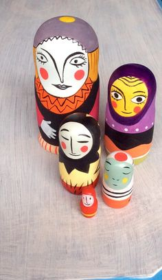 Matrioska, five pieces nesting doll hand painted, one of a kind by francescagreco1 on Etsy https://www.etsy.com/listing/219250447/matrioska-five-pieces-nesting-doll-hand