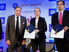 Ratan Tata and Terri Bresenham during the MoU signing to announce the partnership to train youth in various technical areas of health care in Mumbai