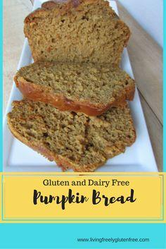 Delicious and moist gluten and dairy free pumpkin bread. Perfect fall treat. www.livingfreelyglutenfree.com