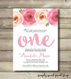 Girl First Birthday Party Invite by SimplySweetPrintShop on Etsy