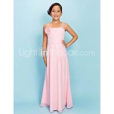 e5a60033b7dc0 Sheath / Column Spaghetti Strap Floor Length Chiffon Junior Bridesmaid Dress  with Draping / Sash / Ribbon / Flower by LAN TING BRIDE® / Spring / Fall ...