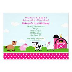 Girl Farm Birthday Invitations