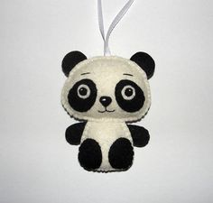 Wool Felt Panda Bear Ornament Panda Ornament Felt Panda