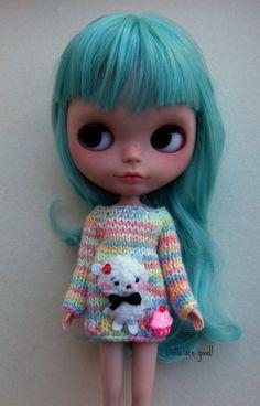 Speciální medvědí svetr pullover jumper pletené šaty pro Blythe