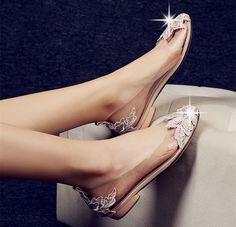 Ivory Beige White Women Lace Crystal Flat Ballet Bridal Wedding Shoes Size Us