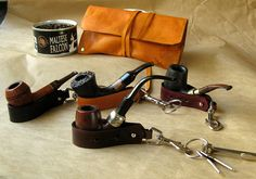 Leather Pipe Stand / Key Fob in Brown  by SorringowlandSons, $20.00