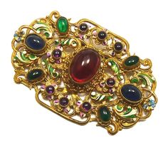 Czech brooch with cabochon glass stones.  Not yet known if it is early Neiger.  Photographed by Gilian Horsup