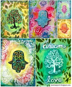 Mixed Media Art ideas for Rosh Hashanah and Yom Kippur cards from Jessica Sporn using StencilGirl stencils and stamps from Rubber Moon.