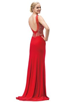 Long Fitted Stretchy Open Back Formal Prom Dress