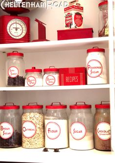 Vintage Ikea Kitchen Cannisters go Retro - My Kitchen Tour post got some very nice attention and I got a few questions about those spice jars and canisters so I thought I'd get into some more details. You may (or may not – I rea… Kitchen Canisters, Kitchen Pantry, Kitchen Items, Red Canisters, Kitchen Labels, Kitchen Cabinets, Kitchen Things, Tv Cabinets, Shabby Chic Kitchen