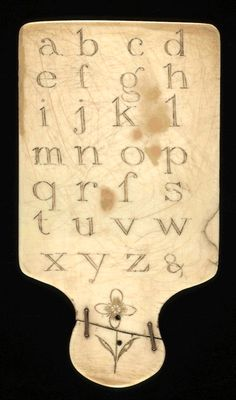 Ivory horn book, England with a great 'make do' stapled repair. Wonderful!