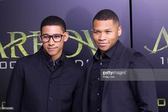 Actors Keiynan Lonsdale and Franz Drameh arrive on the green carpet for the celebration of the 100th Episode of CW's 'Arrow' at the Fairmont Pacific Rim Hotel on October 22, 2016 in Vancouver, BC, Canada.