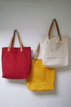 Leathinity - Yellow Canvas Tote Bag w/ Genuine Leather Handles - Eco Friendly. Jute Bags, Linen Bag, Fabric Bags, Big Bags, Leather Handle, Leather Bags, Leather Backpacks, Leather Wallets, Cotton Bag