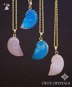 ON SALE! - BLUE Nautilus Shell Agate Necklace, Crystal Necklace, Sea Shell Necklace, Agate Pendant, Statement Necklace, Layering Necklace, Geode Necklace - Wedding nacklaces (*Amazon Partner-Link)