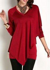 Asymmetric Hem Long Sleeve V Neck Red T Shirt | modlily.com - USD $26.83