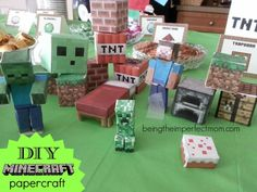 Minecraft DIY papercraft with free printables! http://www.beingtheimperfectmom.com/minecraft-birthday-party/ #Minecraft #printables #freeprintables