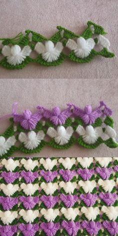 Pine Branch Fiber Model - Diy and craft Crochet Motifs, Crochet Borders, Crochet Flower Patterns, Crochet Stitches Patterns, Baby Knitting Patterns, Crochet Designs, Crochet Flowers, Crochet Afghans, Diy Crafts Crochet
