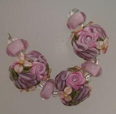 BLISS Peach and Amethyst Full Garden Bloom Lampwork Lentil Bead Trio