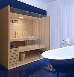 Small interior sauna for bathroom