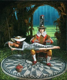 """Have you seen this version of Imagine? It's """"Imagine V"""" by Michael Cheval -Original Oil on Canvas 25 x 20 There are at least 5 pieces in the imagine series, which appear to be almost identical from far away, but take a closer look and you can see all the different details!"""