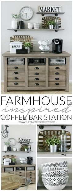 Modern Farmhouse Inspired Coffee Bar Station – The Crafted Sparrow – Home coffee stations Rustic Kitchen Design, Farmhouse Style Kitchen, Modern Farmhouse Kitchens, Home Decor Kitchen, Home Kitchens, Farmhouse Decor, Kitchen Ideas, Decorating Kitchen, Kitchen Modern