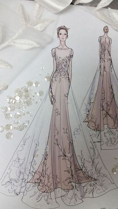 Fashion Sketches Wedding Style Ideas For 2019 Fashion Sketches Wedding Style . - Fashion Sketches Wedding Style Ideas For 2019 Fashion Sketches Wedding Style Ideas For 2019 - Wedding Dress Sketches, Dress Design Sketches, Fashion Design Sketchbook, Fashion Design Drawings, Fashion Sketches, Wedding Dresses, Hair Wedding, Dresses Dresses, Wedding Dress Illustrations
