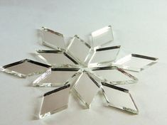 Diamond Shape Mirror Mosaic Tile 150 Pcs for sale online Mirror Backsplash, Mirror Mosaic, Mirror Tiles, Glass Mosaic Tiles, Mosaic Art, Mirror Glass, Tile Care, Mosaic Projects, Diamond Shapes