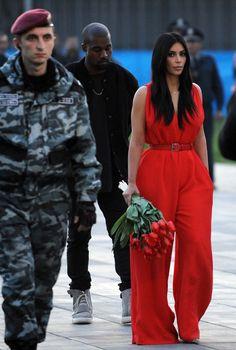 Kim & Kanye at the Armenian Genocide memorial in Yerevan, Armenia - April 10, 2015