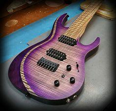 A7H (Aries Series) in purple cali burst over flamed maple top, deep body binding effect on bevel, Kiesel Lithium Pick ups and Hipshot Bridge! — at Kiesel Guitars Carvin Guitars.