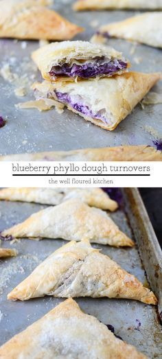 Phyllo Dough Turnovers Flaky, buttery phyllo dough wrapped around a wild blueberry cream cheese filling.Flaky, buttery phyllo dough wrapped around a wild blueberry cream cheese filling. Phyllo Dough Recipes, Puff Pastry Recipes, Köstliche Desserts, Dessert Recipes, Blueberry Turnovers, Blueberry Recipes, Sweet Recipes, Baking Recipes, Sweet Treats