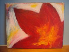 Bright beauty red flower acrylic painting by HunnybearsandTrees