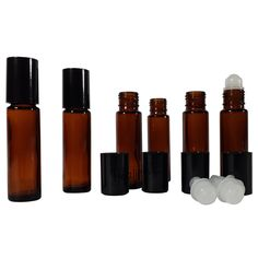 Roller bottles by Healiefs tm: refillable roll on glass bottles for essential oil. 9 milliliter sets of 6, amber, black cap. Advanced cap bottles stay dry. Enjoy a better bottle for essential oils now
