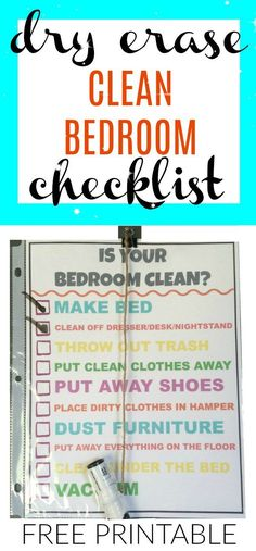Free Printable Is Your Bedroom Clean Checklist.  Reusable Dry Erase, Kids Chores, Chore Chart, Cleaning Checklist, Organize and Clean Kids Room